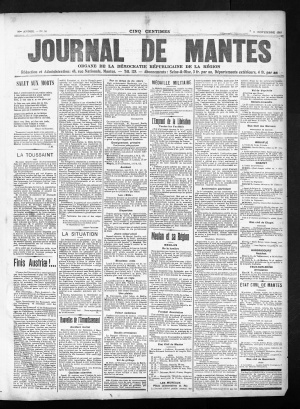 Le journal de Mantes, 6 novembre 1918, ADY Cote PER 1060